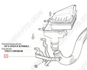 Кронштейн корпуса воздушного фильтра 21073 нижний
