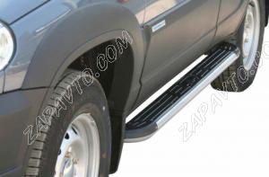 Пороги 2123 Шевроле Нива RS (с 2009 г) с пластиковой накладкой  ТС