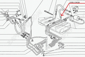 Шланг топливный бензобака (подача) 21082 (1,5L)