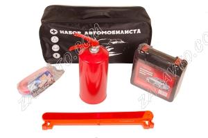 Набор автомобилиста (аптечка, огнетушитель, трос буксировочный, знак аварийный)