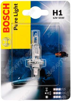 Лампа галогеновая H1 12-55 BOSCH Pure light