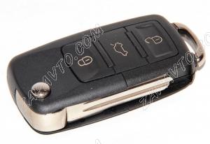 Ключ замка зажигания Ларгус выкидной, без платы, по типу Volkswagen 3 кнопки