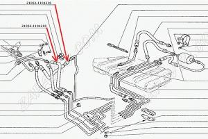 Шланг топливный передний 21082 (рампы) (1,5L)