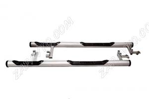 Пороги 2123 Шевроле Нива труба с проступью и пластиковой заглушкой (до 2009г.) ТС