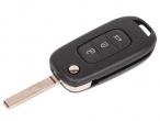 Ключ замка зажигания Renault Megane 2016 HITAG 3 PCF 7961 (выкидной, хром) 3 кнопки